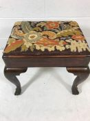 Piano stool on ball & claw feet with tapestry seat cushion