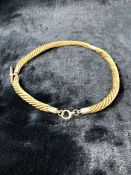 """Victorian 9ct Gold 'Hair' Watch Albert. Approx: 17"""" long with 'T' bar and Bolt ring Marked 9ct."""