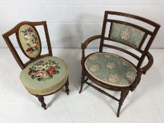 Two antique bedroom chairs, one of oval design, the other with tapestry seat and back