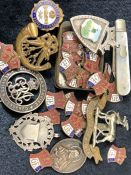 Quantity of Military Cap Badges,Pins, Medals, pendants and a Fruit knife