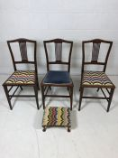 Three inlaid bedroom chairs, two with tapestry seats and a matching footstool