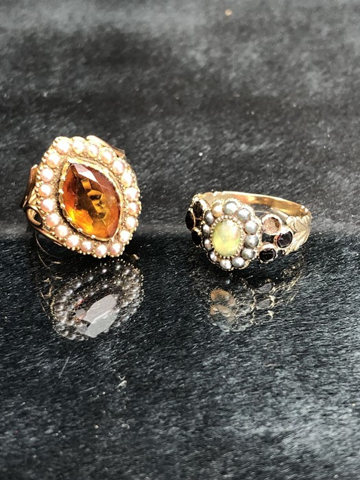 Lot 302 - 2 x Unmarked Yellow metal Rings (1) 18th Century Oval approx: 12.4mm x 10.4mm across and set with