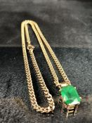9ct Gold hallmarked 375 link chain with 9ct Gold pendant with cushion cut green stone (total