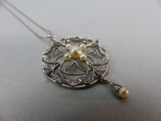 "Edwardian (unmarked) Platinum set Diamond and Pearl Pendant, hung on a modern 18"" Platinum 'ball'"