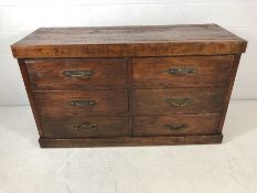 Large rustic chest of drawers with heavy metal handles 90 x 57 x 158cm