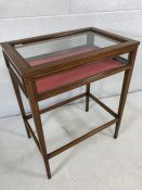 Silver cabinet on tapering legs with all round glass panels and red velvet approx 41.5cm x 62cm x