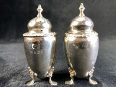 Silver Birmingham hallmarked Salt and pepper shakers by William Neale & Son Ltd (approx 108g)