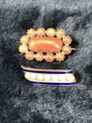 2 x Victorian Brooches (1) Yellow metal (gold) Coral brooch set with an approx: 10mm x 21mm