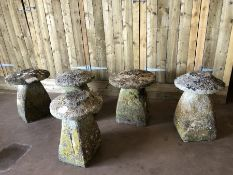 Five original Staddle stones originally used as supporting bases for granaries, hayricks, game