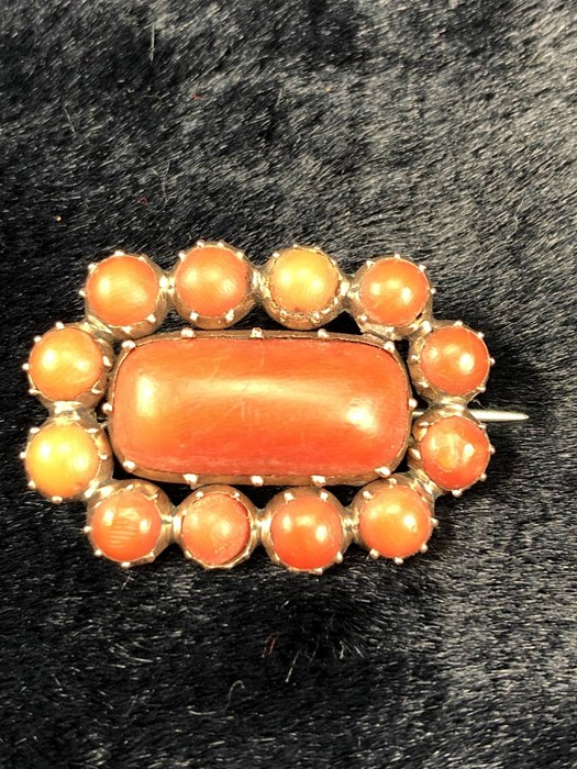 Lot 313 - 2 x Victorian Brooches (1) Yellow metal (gold) Coral brooch set with an approx: 10mm x 21mm