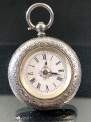 Victorian Hallmarked Silver ladies pocket watch, Birmingham by Max Steyerman, enamel dial