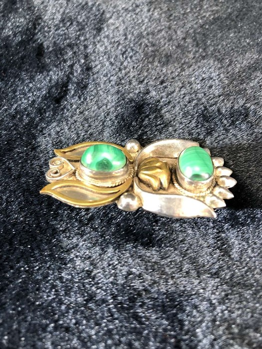 Lot 317 - Arts & Crafts Brooch, Silver with coloured stones