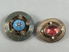 2 x Victorian Memorial Brooches (1) measuring approx: 32mm x 37.9mm across. Central Cabochon Pink