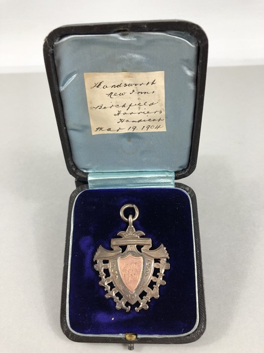 Lot 318 - Silver and Gold Medal for the Birchfield Harriers in original Box (total weight approx 12.4g)