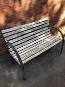 Metal and wooden slatted Garden Bench