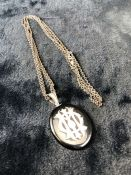 Unmarked Victorian Mourning Pendant, approx: 45025mm x 36mm across Black Onyx with Applique entwined