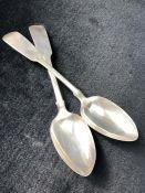 Pair of Silver Georgian Newcastle Hallmarked serving spoons maker Thomas Watson
