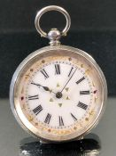 Silver Hallmarked 0.935 Silver cased ladies pocket watch with enamel dial and gold decoration