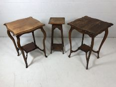Pair of similar occasional tables and an oak plant stand