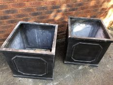 Pair of square Garden planters, approx 57cm square