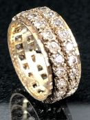 9ct Full eternity ring set with Diamonds stamped 9ct to inner (total weight approx 4.6g) size 'I'