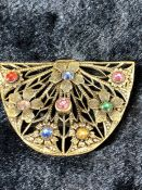 Filigree Gold Coloured brooch set with colourful stones
