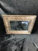 Carved wooden rectangular bevel-edged mirror approx 54cm x 44cm