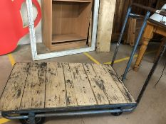 Industrial metal trolley with metal frame and wooden base