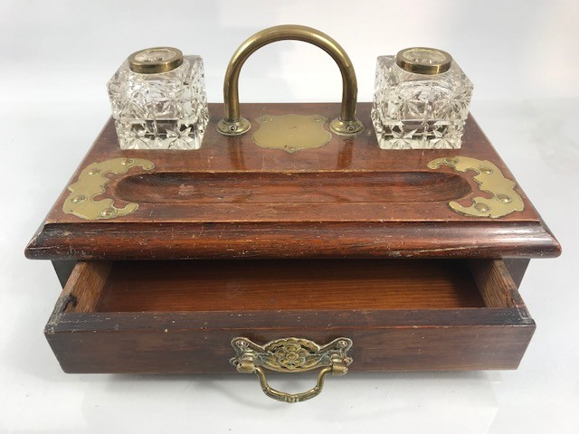Lot 11 - Victorian brass and oak desk stand with drawer