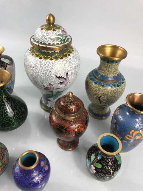 Lot 23 - Collection of ten Cloisonne vases and urns