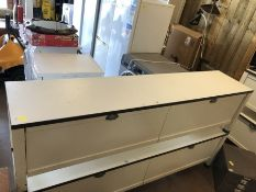 Long low white modern storage unit of two large drawers approx 190 x 40 x 50cm tall