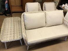 Grey Rattan conservatory furniture Suite with Grey cushions (two seater settee, two armchairs and