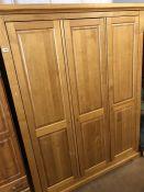 Modern oak three door wardrobe (keys in office)