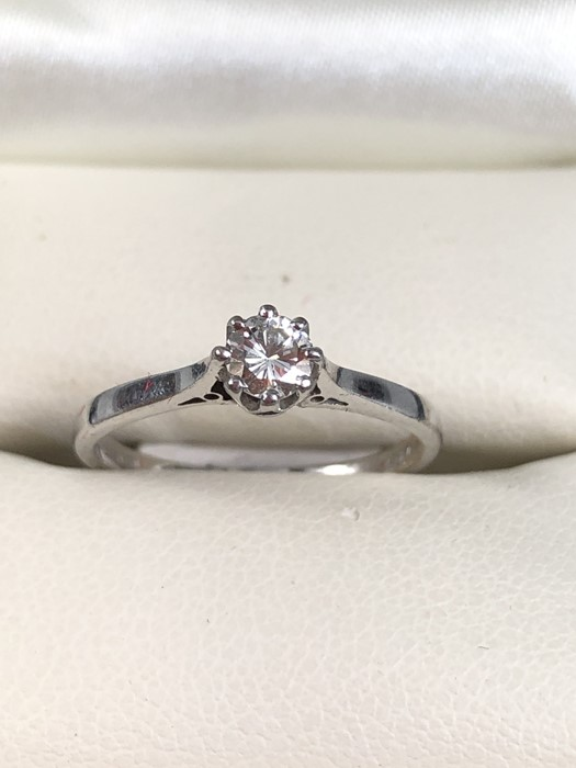 """Lot 40 - 18ct White Gold Diamond Solitaire ring (approx 30pts) size K.5 inscribed to inner """"I Love You"""""""