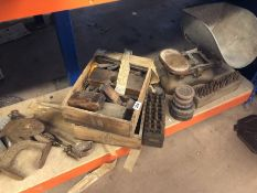 Collection of tools stamps, weighing scales and weights etc