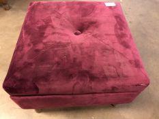 Pouffe and storage in burgundy velvet