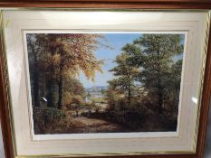 W R MAKINSON - limited edition print of a woodland and river scene approx 61cm x 41cm (inside