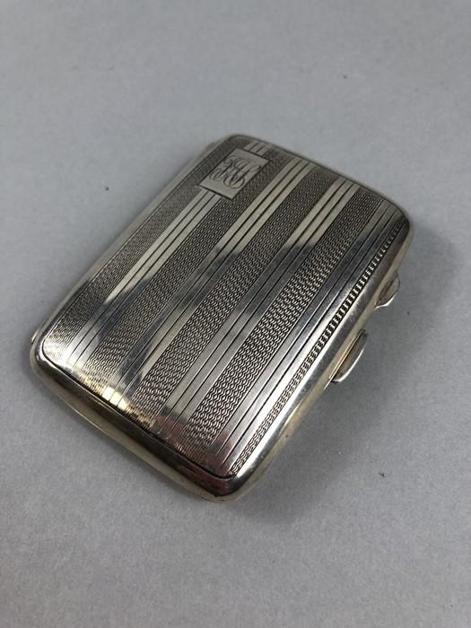 Lot 34 - Hallmarked Birmingham silver Cigarette case with Engine turned decoration maker J.C Ltd