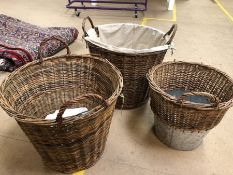 Collection of three wicker & metal baskets