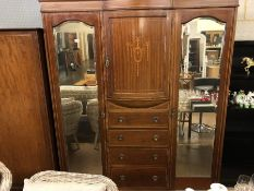 Edwardian Gentleman's wardrobe with two bevel edged mirrors and inlay to central door