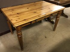 Pine kitchen table with single drawer, approx dimensions 120cm x 76cm