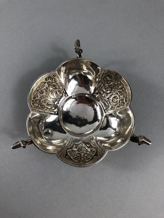 Lot 36 - Hallmarked Silver Bon Bon dish with alternate patterned decoration on three Rams head feet