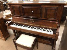 Upright Piano and stool, piano by John Broadwood & Sons London
