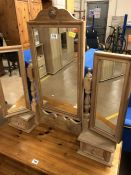 Three mirror dressing table pine unit with two small drawers
