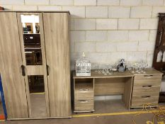 Modern Bedroom suite comprising three draw mirrored wardrobe, dressing table and small chest