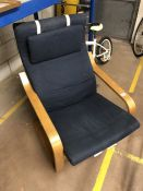 Ikea 'Poang' blue upholstered chair