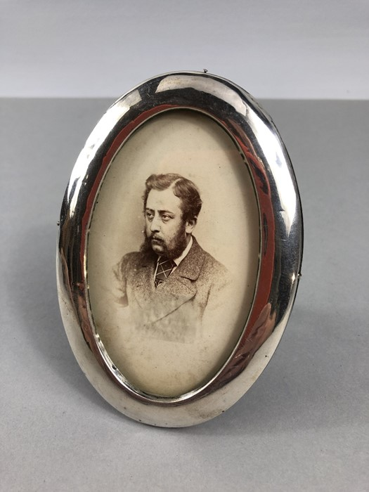 Lot 37 - Silver Hallmarked Oval picture frame with wooden back