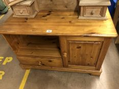 Pine TV cabinet with cupboard and drawer