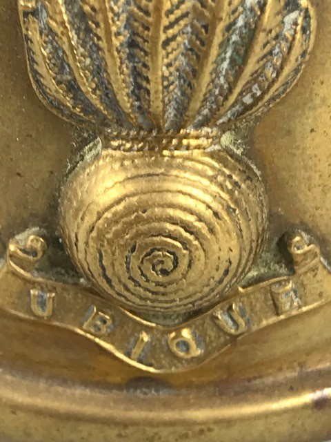 Lot 16 - Pair of WW1 trench art brass inkwells and a trench art model of a German soldier with moving arms