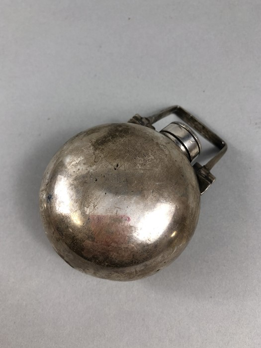 Lot 33 - Silver coloured Hip flask with screw silver cap and hinged handle